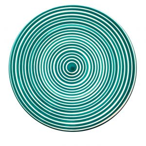 Cheese board circular striped green