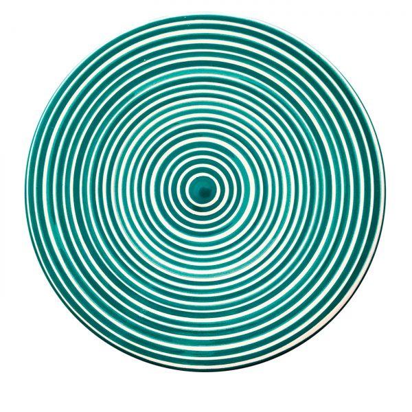 Cheese board circular striped green