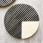 Cheese board graphic platter 3/4 stripe