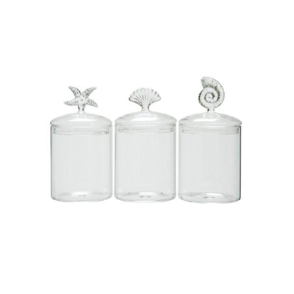 Set of 3 storage jars sea