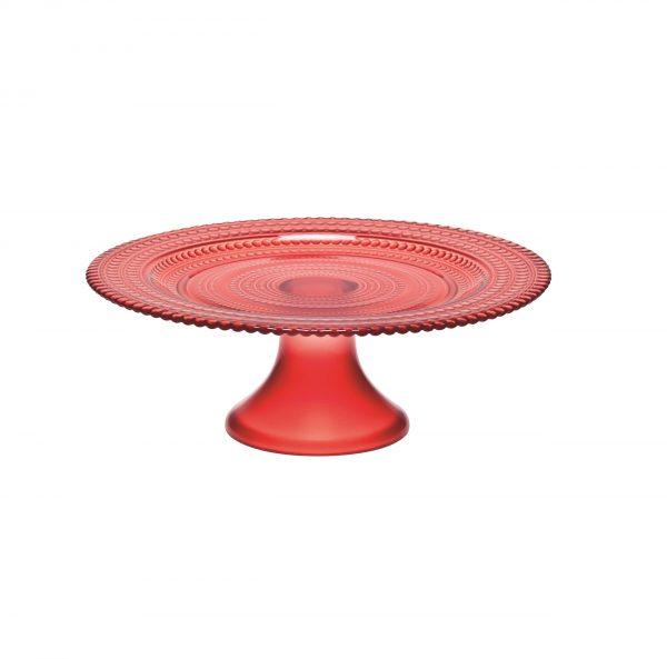Cake stand glass rosso pois