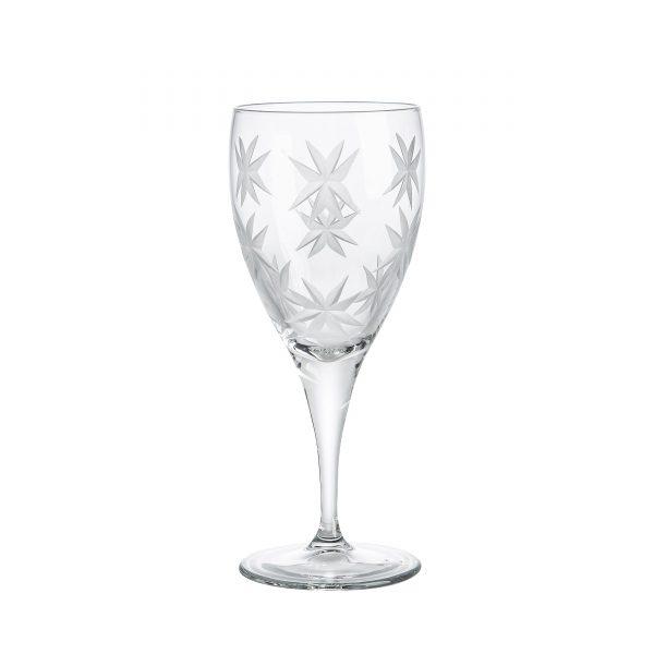 Set of 3 wine glass carved