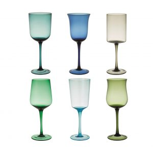 Set of 6 wine glass nuance blue and green