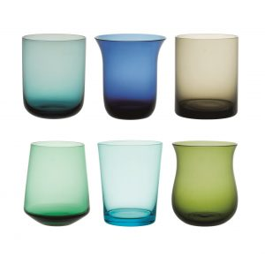 Set of 6 tumbler nuance blue and green
