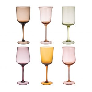 Set of 6 wine glass nuance amber and pink