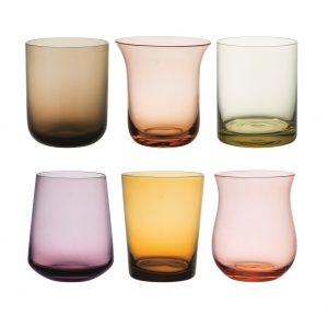 Set of 6 tumbler nuance amber and pink