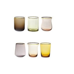 Set of 6 liquor nuance pink and amber