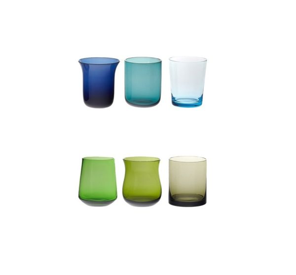 Set of 6 liquor nuance blue and green