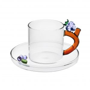 Fruits & flowers coffee cup with saucer backberry