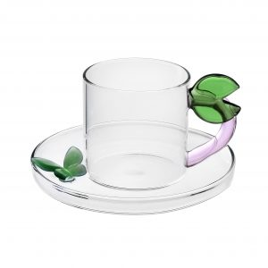 Fruits & flowers coffee cup with saucer leaf