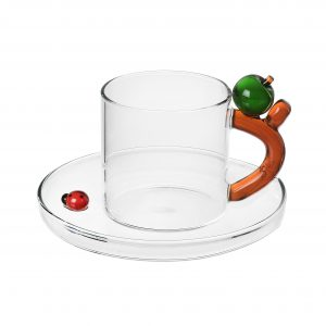 Fruits & flowers coffee cup with saucer apple