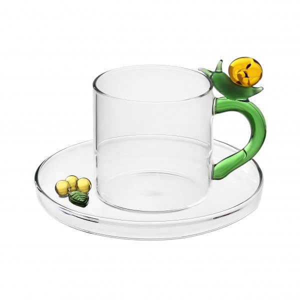 Fruits & flowers coffee cup with saucer snail